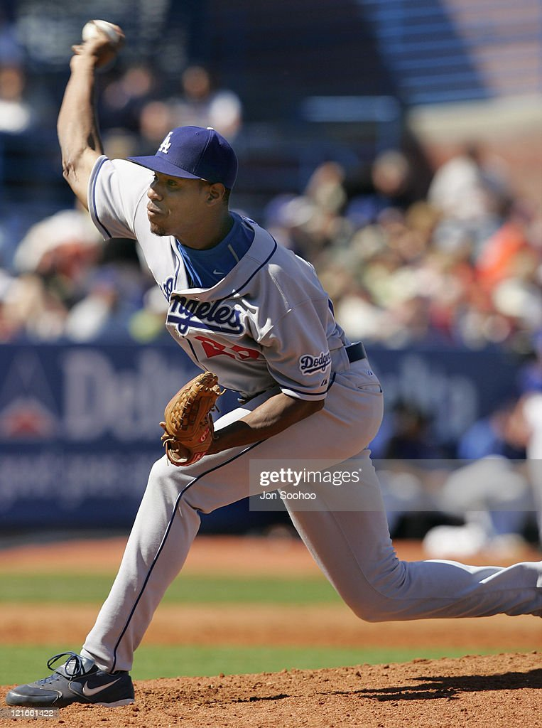 Los Angeles Dodgers pitcher <a gi-track='captionPersonalityLinkClicked' href=/galleries/search?phrase=Edwin+Jackson&family=editorial&specificpeople=220506 ng-click='$event.stopPropagation()'>Edwin Jackson</a> against the New York Mets during the first inning. The Mets beat the Dodgers 6-4 in the spring training game at Traditions Field in Port St. Lucie, Florida Saturday, March 5, 2005.