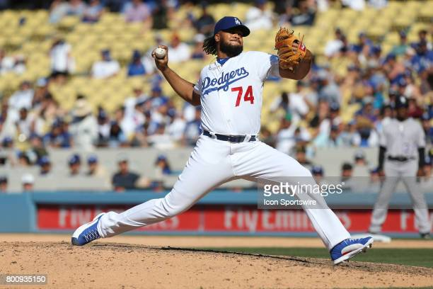 Los Angeles Dodgers pitcher Kenley Jansen throws a pitch during the game against the Colorado Rockies on June 25 at Dodger Stadium in Los Angeles CA