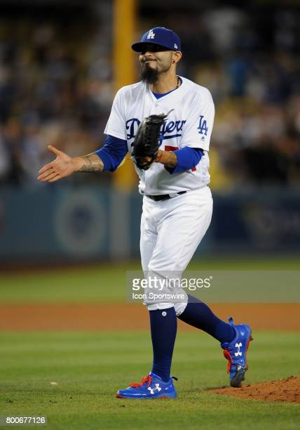 Los Angeles Dodgers pitcher Sergio Romo in action during the ninth inning of a game against the Colorado Rockies on June 24 played at Dodger Stadium...