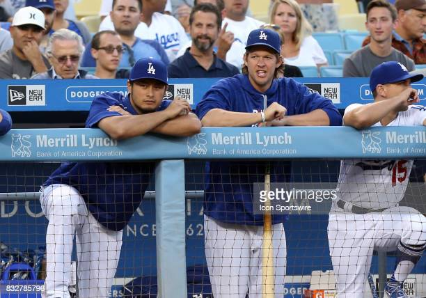 Los Angeles Dodgers pitcher Yu Darvish and Los Angeles Dodgers s tarting pitcher Clayton Kershaw during the game against the Chicago White Sox on...