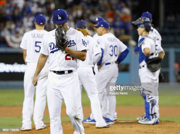 Los Angeles Dodgers pitcher Yu Darvish is pulled after surrendering five runs in 12/3 innings in Game 7 of the World Series against the Houston...