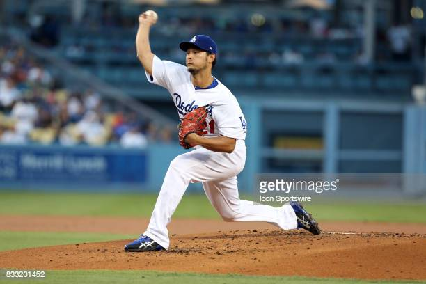 Los Angeles Dodgers pitcher Yu Darvish throws a pitch during the game against the Chicago White Sox on August 16 at Dodger Stadium in Los Angeles CA