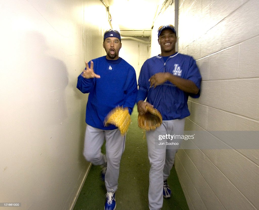 Los Angeles Dodgers pitchers Jose Lima, right and Edwin Jackson prior to game with the Chicago Cubs Friday, August 13, 2004 at Wrigley Field in Chicago, Illinois. The Dodgers won 8-1.
