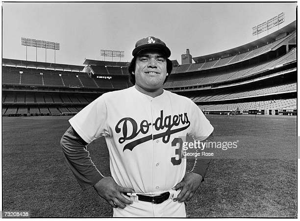 Los Angeles Dodgers pitching star Fernando Valenzuela poses during a 1981 Los Angeles California photo portrait session at Dodger Stadium