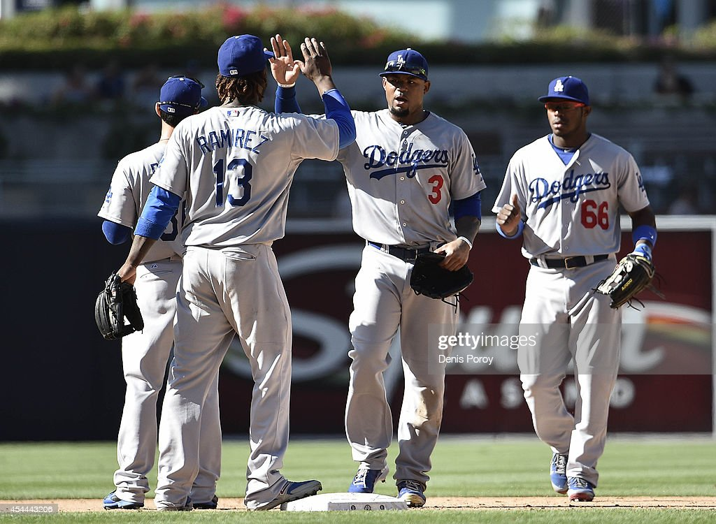 Los Angeles Dodgers players high-five after beating the San Diego Padres 7-1 in a baseball game at Petco Park August, 31, 2014 in San Diego, California.