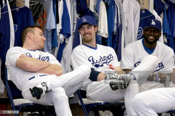 Los Angeles Dodgers projected starting outfielders JD Drew Jayson Werth and Milton Bradley at the first full squad workout at Dodgertown in Vero...