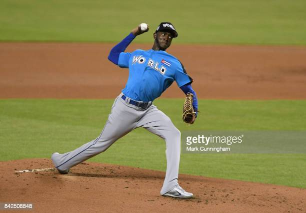Los Angeles Dodgers prospect Yadier Alvarez of the World Team pitches during the 2017 SiriusXM AllStar Futures Game at Marlins Park on July 9 2017 in...