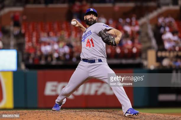 Los Angeles Dodgers relief pitcher Chris Hatcher delivers during the eighth inning of a baseball game against the St Louis Cardinals May 30 at Busch...