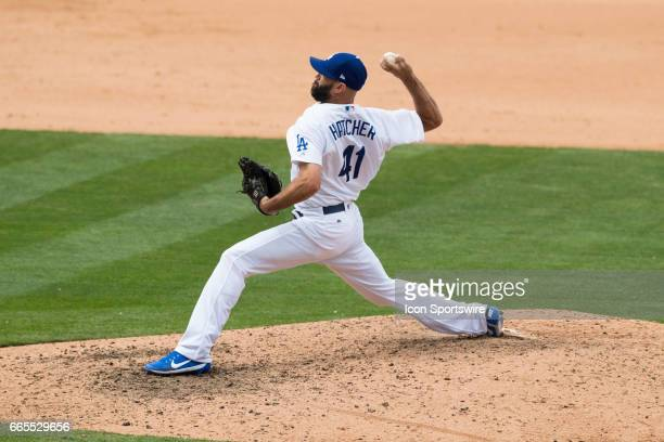 Los Angeles Dodgers relief pitcher Chris Hatcher during the MLB regular season baseball game against the San Diego Padres on April 6 2017 at Dodger...