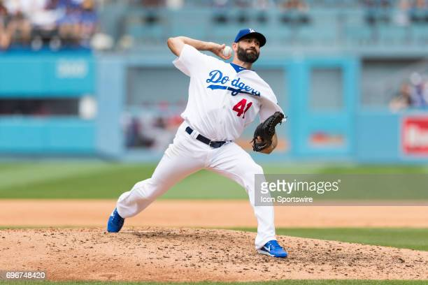 Los Angeles Dodgers relief pitcher Chris Hatcher during the MLB regular season game against the Cincinnati Reds on June 11 at Dodger Stadium in Los...