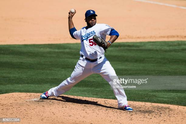Los Angeles Dodgers relief pitcher Pedro Baez during the MLB regular season game between the San Francisco Giants and the Los Angeles Dodgers at...