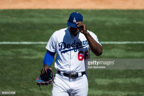 Los Angeles Dodgers right fielder Yasiel Puig during the MLB regular season game between the San Francisco Giants and the Los Angeles Dodgers at...