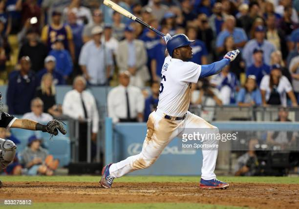 Los Angeles Dodgers right fielder Yasiel Puig hits a walk off double during the game defeating the Chicago White Sox 54 on August 16 at Dodger...