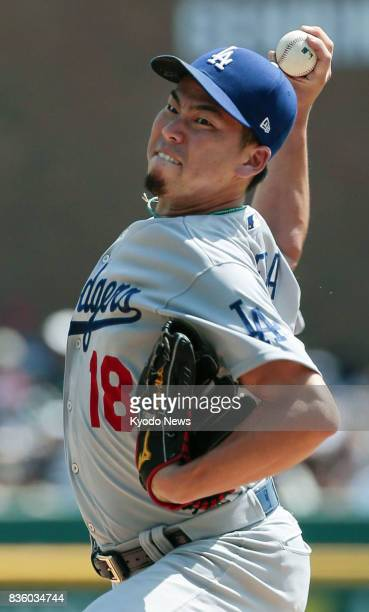 Los Angeles Dodgers righthander Kenta Maeda pitches against the Detroit Tigers in Detroit on Aug 20 2017 Maeda gave up four runs and five hits in six...