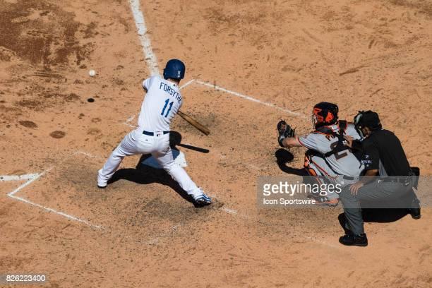 Los Angeles Dodgers second baseman Logan Forsythe during the MLB regular season game between the San Francisco Giants and the Los Angeles Dodgers at...
