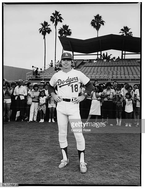 Los Angeles Dodgers shortstop star Bill Russell poses during a 1981 Los Angeles California photo portrait session at Dodger Stadium The photo was...
