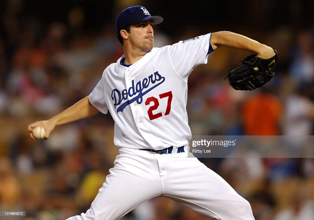 Los Angeles Dodgers starter DJ Houlton pitches during 21 loss to the Colorado Rockies at Dodger Stadium in Los Angeles Calif on Wednesday August 22...