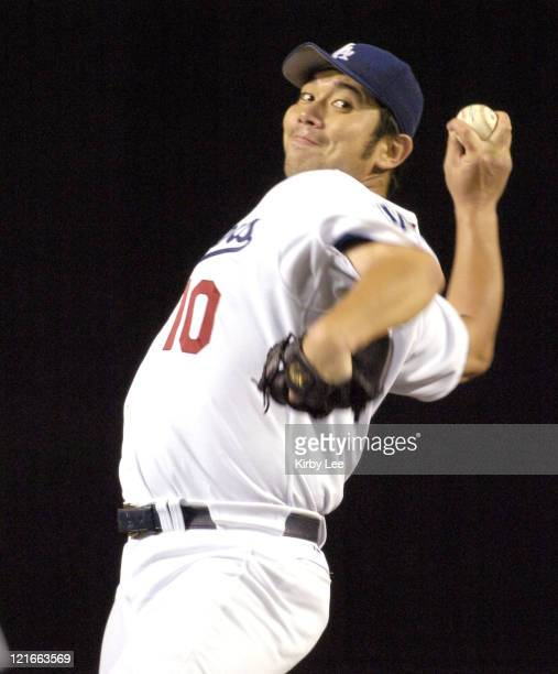 Los Angeles Dodgers starter Hideo Nomo pitches during 82 victory over the Arizona Diamondbacks at Dodger Stadium in Los Angeles Calif on Tuesday Sept...