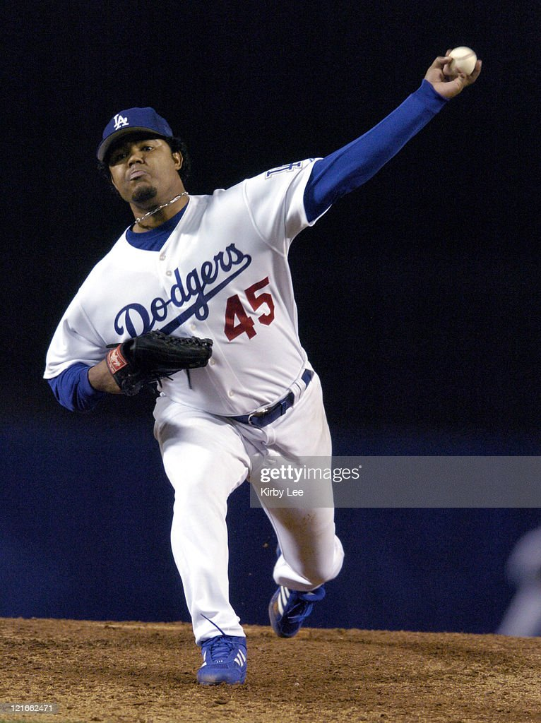 Los Angeles Dodgers starter Wilson Alvarez pitches during 41 loss to the Colorado Rockies at Dodger Stadium in Los Angeles Calif on Wednesday Sept 29...