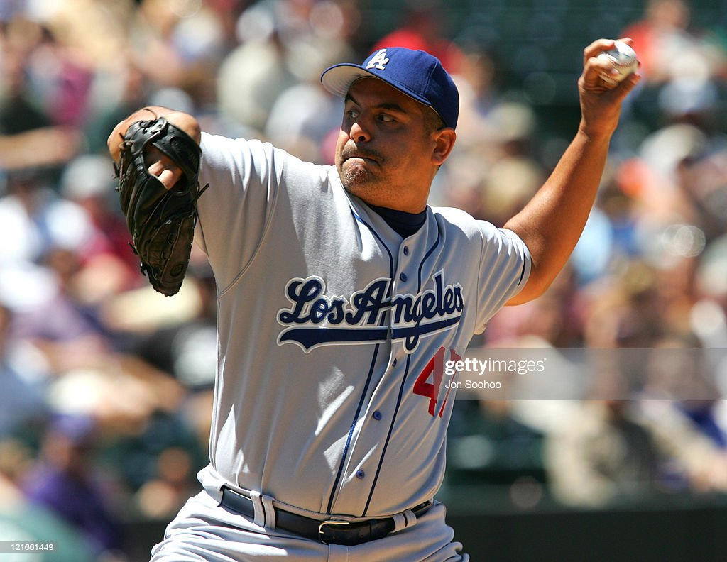 Los Angeles Dodgers starter Wilson Alvarez pitches during the game between the Colorado Rockies and the Los Angeles Dodgers at Coors Field in Denver...