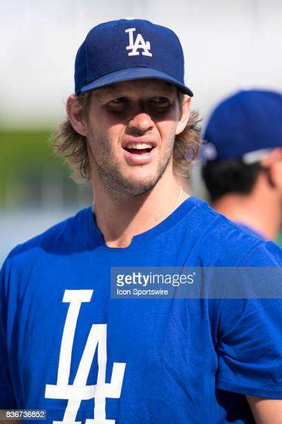 Los Angeles Dodgers Starting pitcher Clayton Kershaw look on during a game between the Los Angeles Dodgers and the Pittsburgh Pirates on August 21 at...