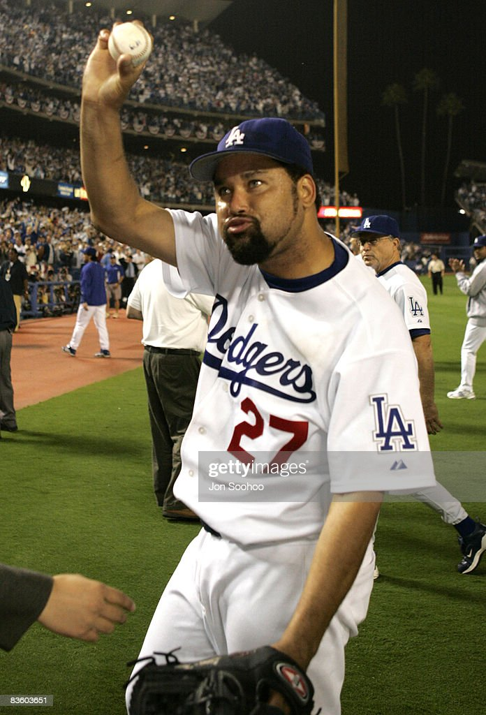 Los Angeles Dodgers starting pitcher Jose Lima exults after winning against the St. Louis Cardinals at Dodger Stadium in Los Angeles, California. The Dodgers shut out the Cardinals 4-0 on Lima's complete game.
