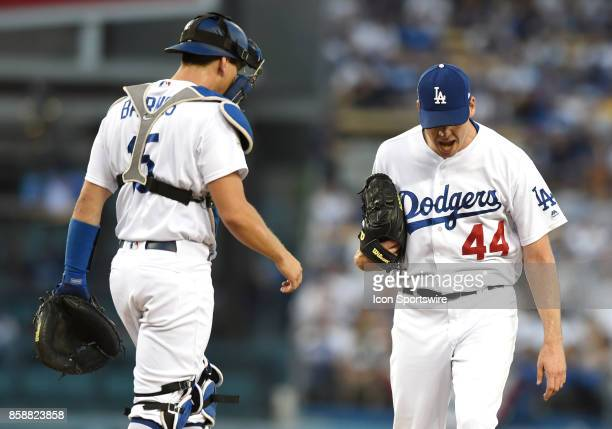 Los Angeles Dodgers starting pitcher Rich Hill reacts in anger after giving up a home run to Arizona Diamondbacks first baseman Paul Goldschmidt...