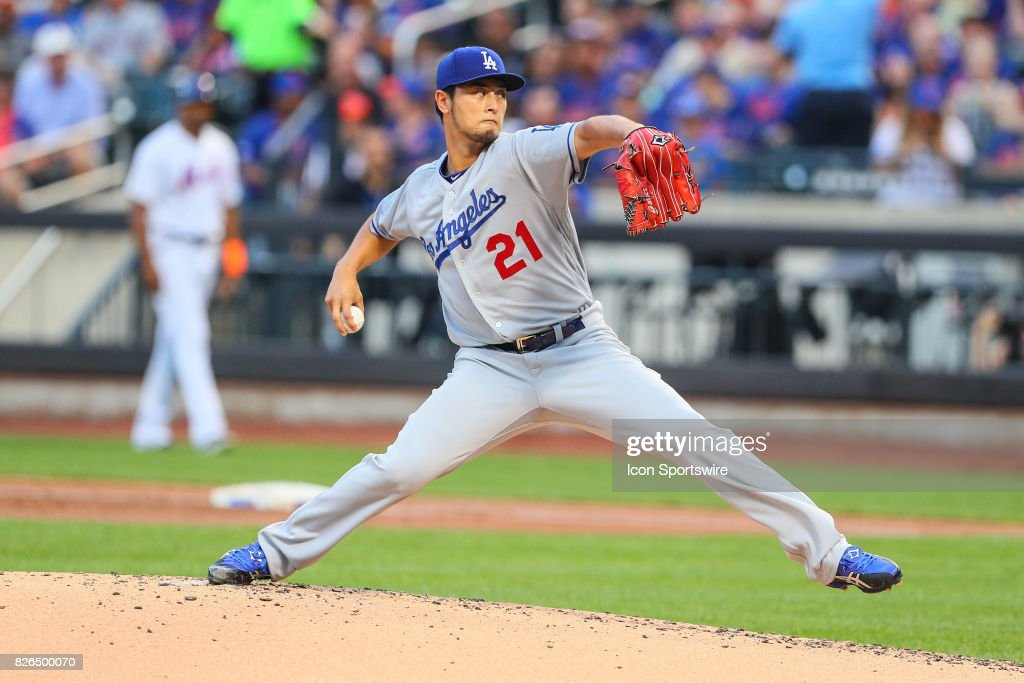 Los Angeles Dodgers starting pitcher Yu Darvish (21) pitches during the first inning of the Major League Baseball game between the New York Mets and the Los Angeles Dodgers on August 04, 2017 at Citi Field in Flushing, NY.