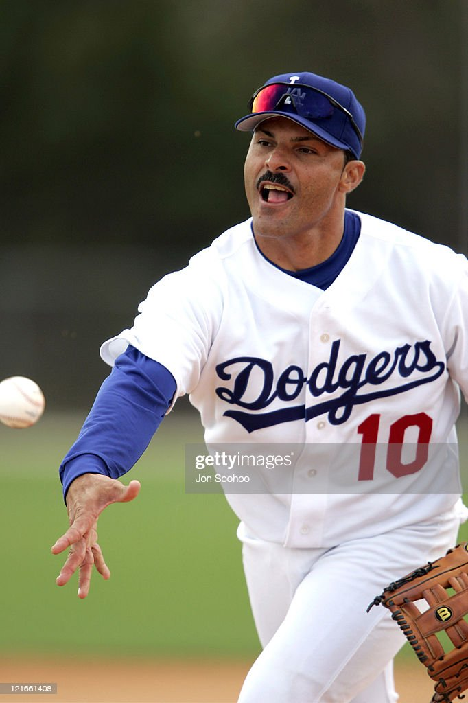 Los Angeles Dodgers third baseman Jose Valentin during the first full squad workout at Dodgertown in Vero Beach, Florida on Thursday, February 24, 2005.