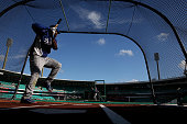 Los Angeles Dodgers Yasiel Puig in the batting cage during practice at the Sydney Cricket Ground Sydney Australia Thursday 20th March 2014