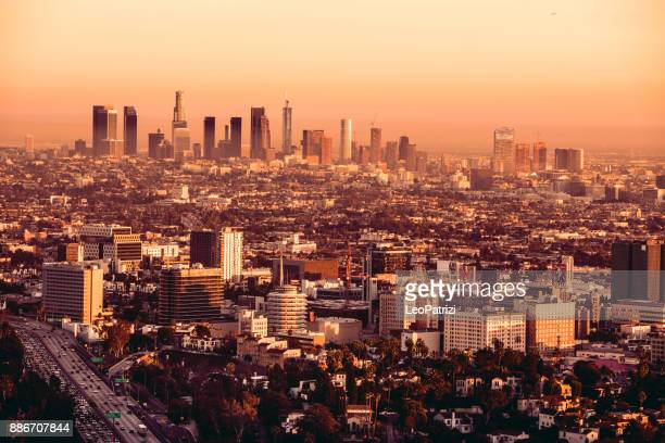 Los Angeles downtown and Hollywood cityscape at dusk