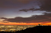Dusk view of urban Los Angeles from Griffith Park in Southern California.