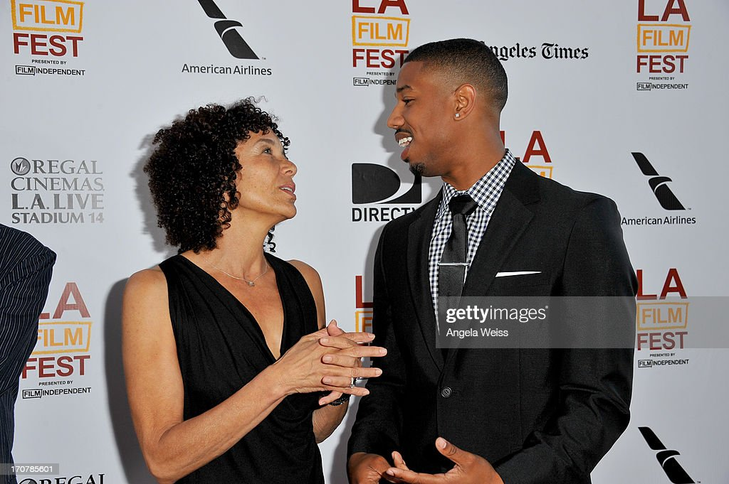 Los Angeles Film Festival director <a gi-track='captionPersonalityLinkClicked' href=/galleries/search?phrase=Stephanie+Allain&family=editorial&specificpeople=2079610 ng-click='$event.stopPropagation()'>Stephanie Allain</a> (L) and Actor Michael B. Jordan arrive at the premiere of The Weinstein Company's 'Fruitvale Station' during the 2013 Los Angeles Film Festival at Regal Cinemas L.A. Live on June 17, 2013 in Los Angeles, California.