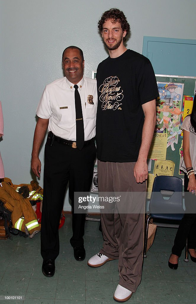 Los Angeles Fire Chief Millage Peaks and basketball player Pau Gasol partner with MySafe: LA to educate elementary school children on fire safety at Euclid Elementary School on May 20, 2010 in Los Angeles, California.