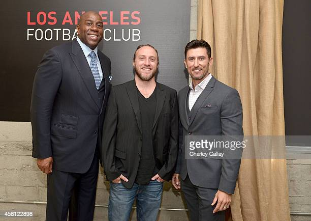 Los Angeles Football Club owners Earvin 'Magic' Johnson Chad Hurley and Nomar Garciaparra attend a press conference to announce the new Los Angeles...