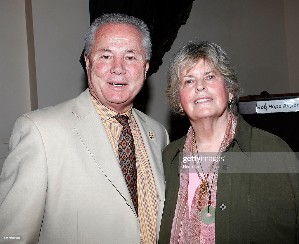 Los Angeles Fourth District Councilmember Tom LaBonge (L) and Linda Hope, daughter of Bob Hope, attend the unveiling of the Bob Hope bas relief sculpture at The Bob Hope Airport on February 16, 2010 in Burbank, California.
