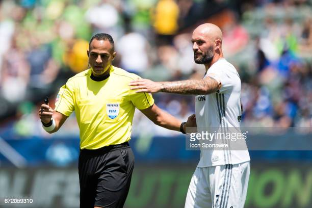 Los Angeles Galaxy defender Jelle Van Damme pleads his case on a call during the game between the LA Galaxy and the Seattle Sounders on April 23 at...