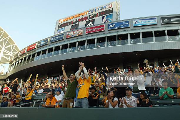 Los Angeles Galaxy fans applaud after the Los Angeles Galaxy defeated Real Salt Lake in their MLS match at the Home Depot Center on June 17 2007 in...