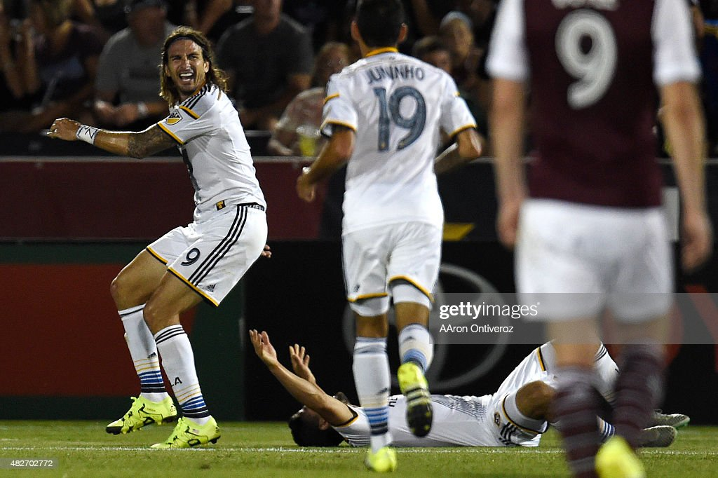 Los Angeles Galaxy forward <a gi-track='captionPersonalityLinkClicked' href=/galleries/search?phrase=Alan+Gordon+-+Voetballer&family=editorial&specificpeople=11667134 ng-click='$event.stopPropagation()'>Alan Gordon</a> (9) reacts to scoring the game winner against the Colorado Rapids during the second half of the Galaxy's 3-1 win. The Colorado Rapids hosted the Los Angeles Galaxy on Saturday, August 1, 2015.