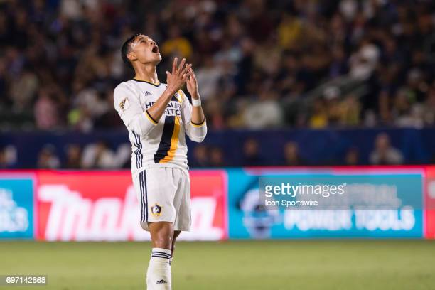 Los Angeles Galaxy forward Ariel Lassiter reacts afters missing a goal in the second half during the game between the LA Galaxy and the Houston...