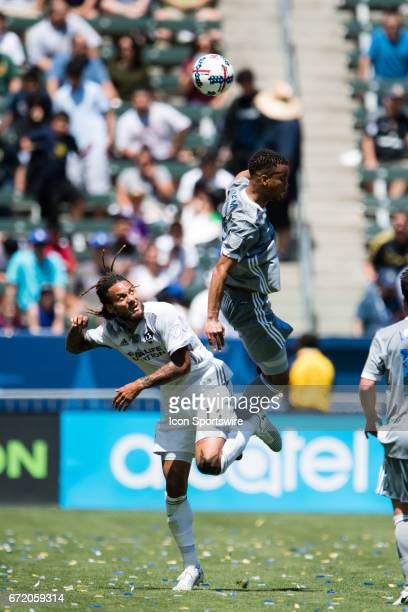 Los Angeles Galaxy midfielder Jermaine Jones and Seattle Sounders midfielder Jordy Delem both fit to get the ball during the game between the LA...