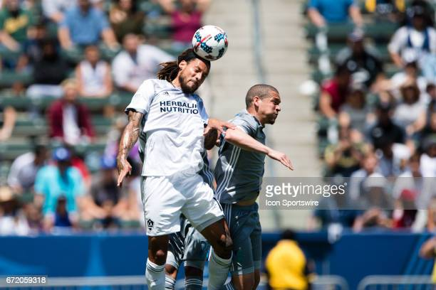 Los Angeles Galaxy midfielder Jermaine Jones heads the ball during the game between the LA Galaxy and the Seattle Sounders on April 23 at StubHub...
