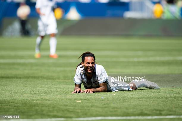 Los Angeles Galaxy midfielder Jermaine Jones lays on the ground after missing a shot on goal during the game between the LA Galaxy and the Seattle...