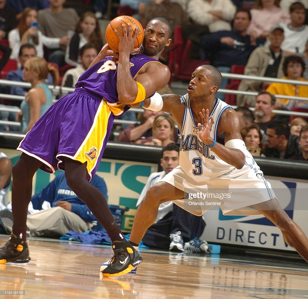 Los Angeles guard Kobe Bryant makes an unusual move as Orla