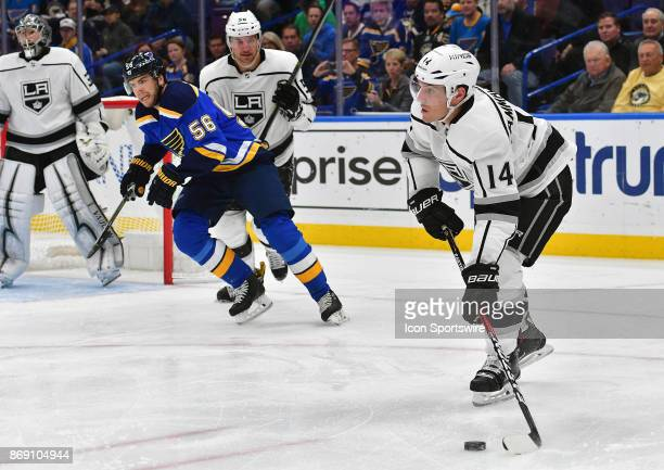 Los Angeles Kings center Michael Cammalleri looks to pass the puck during a National Hockey League game between the Los Angeles Kings and the St...