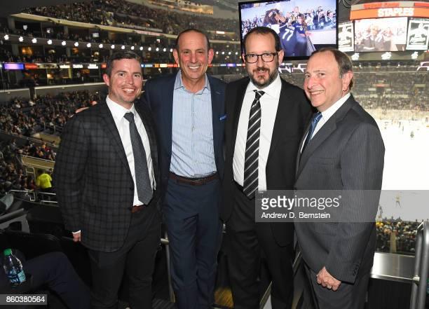 Los Angeles Kings Chief Operating Officer Kelly Cheeseman MLS Commissioner Don Garber AEG President Dan Beckerman and NHL Commissioner Gary Bettman...