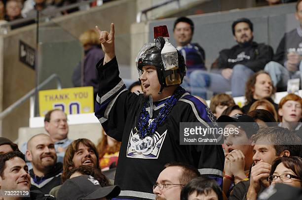 Los Angeles Kings fan wears a beer helmet during the game against the Phoenix Coyotes on January 20 2007 at Staples Center in Los Angeles California...