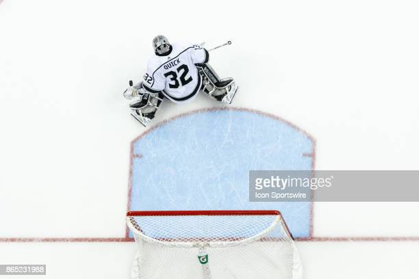 Los Angeles Kings goalie Jonathan Quick blocks a shot during warmups in a game between the Columbus Blue Jackets and the Los Angeles Kings on October...