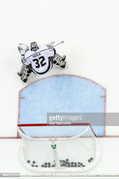 Los Angeles Kings goalie Jonathan Quick prepares for a shot during warmups in a game between the Columbus Blue Jackets and the Los Angeles Kings on...