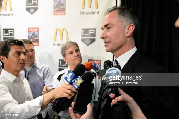 Los Angeles Kings Head Coach John Stevens addresses the media during a press conference naming him head coach of the team at STAPLES Center on April...